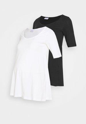 MLEVANA TOP 2 PACK - Basic T-shirt - snow white/black