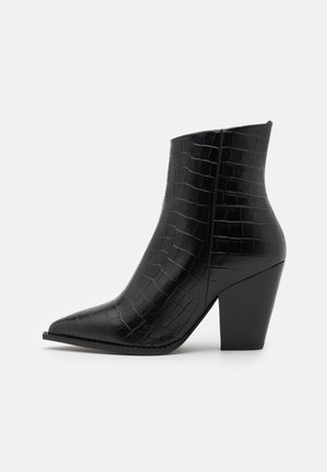 BOTTINES IMPRIME - High heeled ankle boots - black