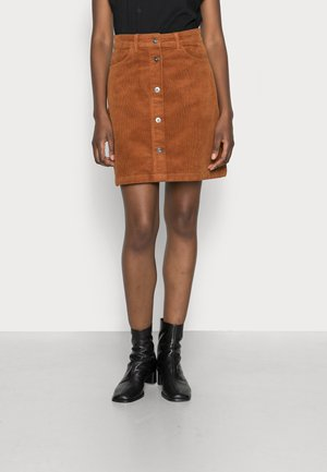 CORDUROY SKIRT - Mini skirt - amber brown