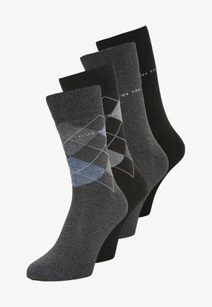 4 PACK - Strumpor - grau/schwarz