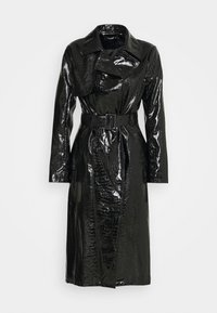 Missguided - CROC BELTED MAXI - Trenčkot - black - 0