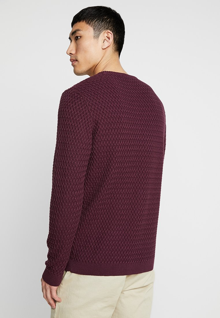 Knowledge Cotton Apparel SMALL DIAMOND - Strickpullover - fig/rot-meliert VYhgMU