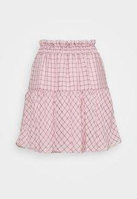CHECK SHIRRED - A-line skirt - pink