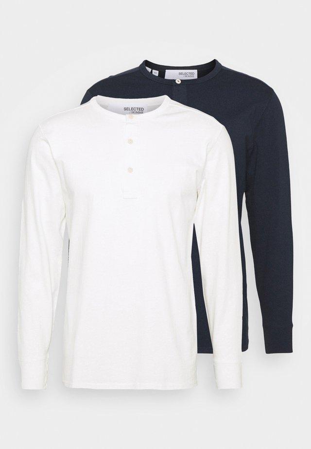 SLHBAKER SPLIT NECK 2 PACK - Long sleeved top - navy blazer/egret
