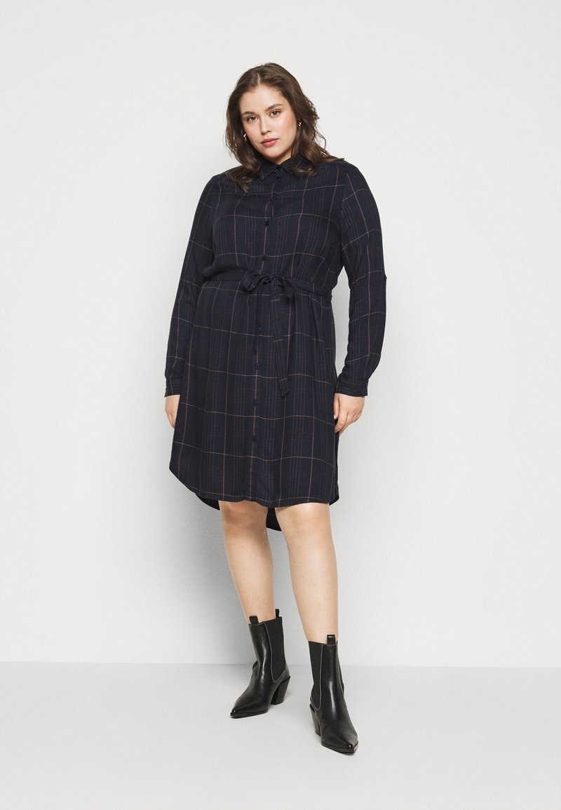 MY TRUE ME TOM TAILOR - BELTED CHECKED DRESS - Shirt dress - navy gipsy/camel