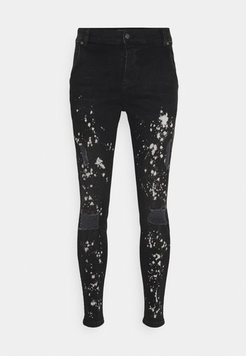 PAINT SPLATTER RIPPED KNEE  - Jeans Skinny Fit - washed grey