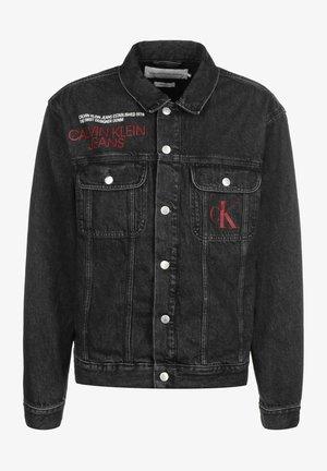 Denim jacket - washed black logo print