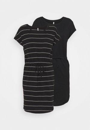 ONLMAY LIFE DRESS 2 PACK - Jerseyjurk - black/thin stripe/black solid