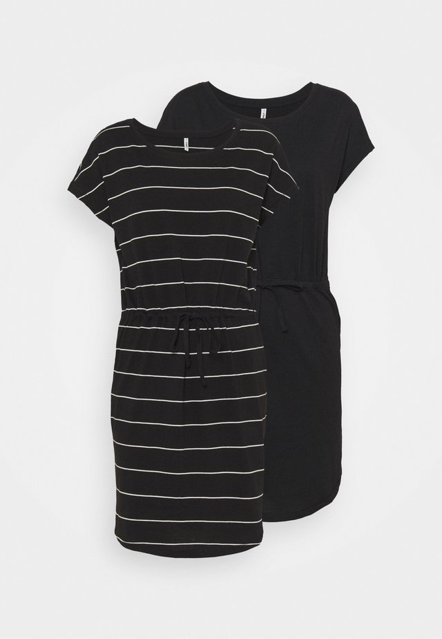 ONLMAY LIFE DRESS 2 PACK - Jerseykjole - black/thin stripe/black solid
