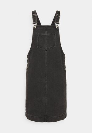 DUNGAREE SKIRT - Farkkumekko - destroyed mid stone black denim