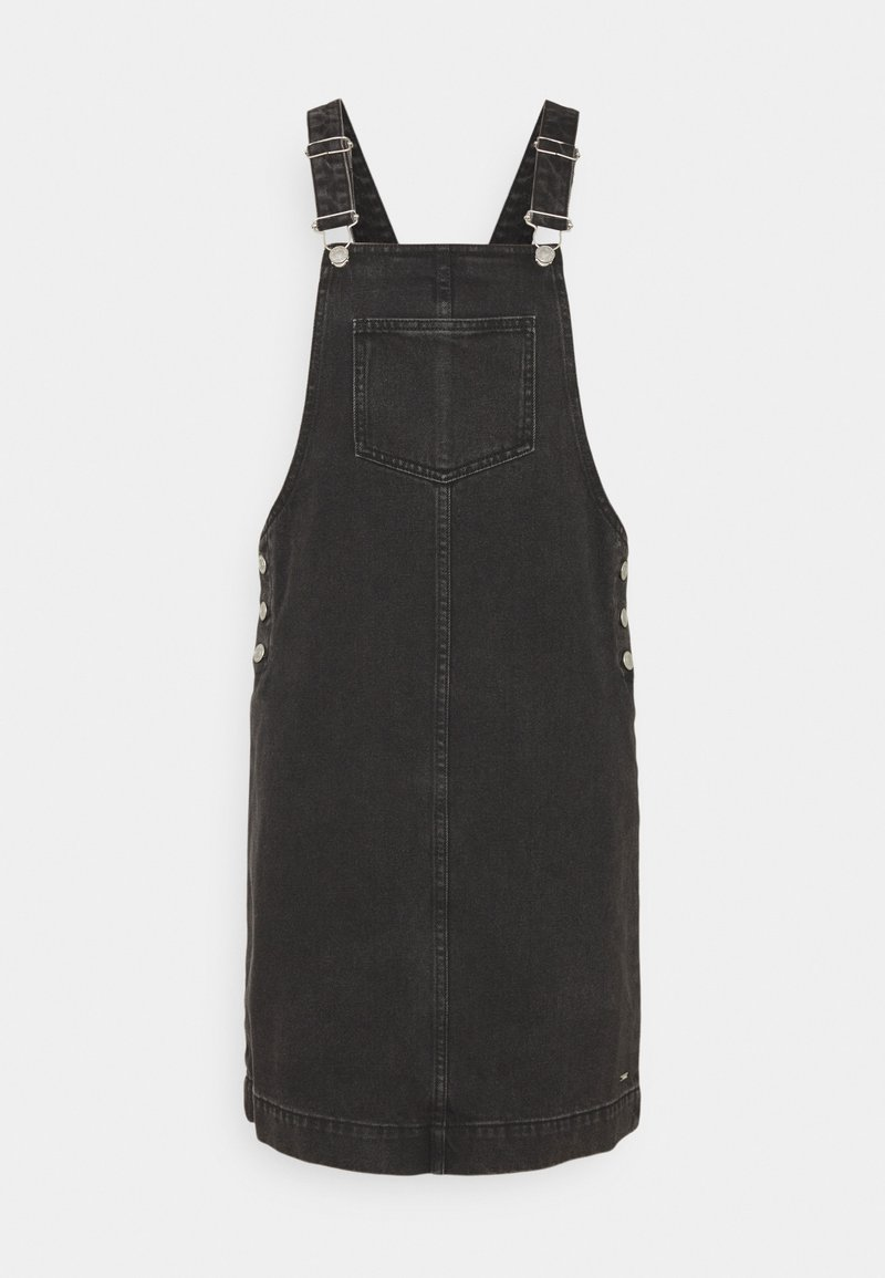 TOM TAILOR DENIM - DUNGAREE SKIRT - Denim dress - destroyed mid stone black denim
