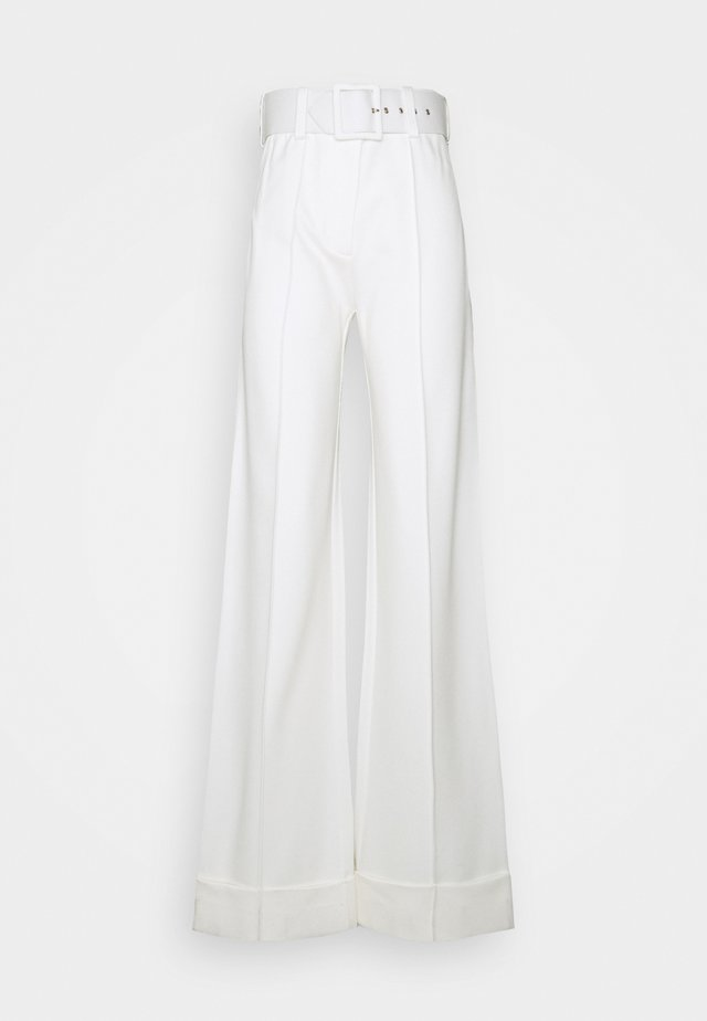 BELTED PONTI TROUSER - Bukse - ivory