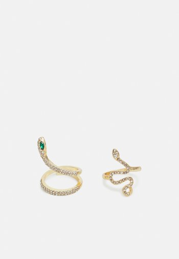 PCPIETTA 2 PACK - Ring - gold-coloured/green/clear
