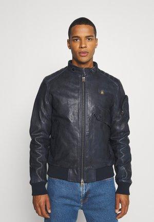 HAWORX - Leather jacket - garris washed/mazarine blue