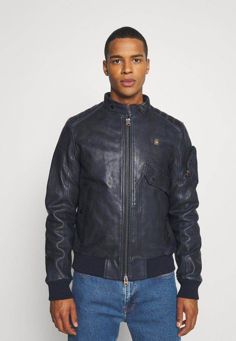 G-Star - HAWORX - Leather jacket - garris washed/mazarine blue