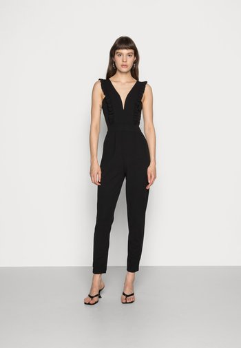 FRILL SLEEVE PLUNGE - Overall / Jumpsuit - black