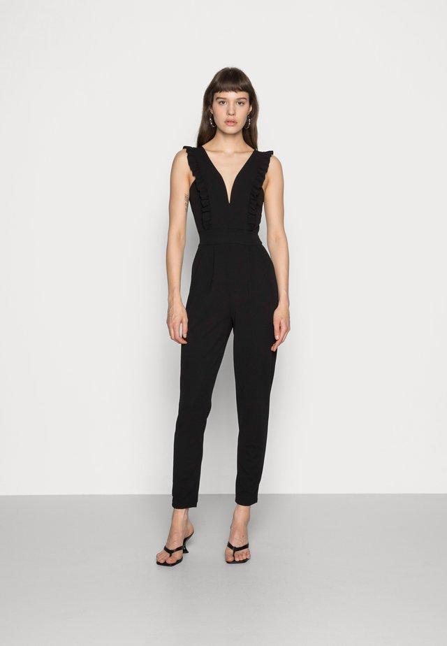 FRILL SLEEVE PLUNGE - Tuta jumpsuit - black
