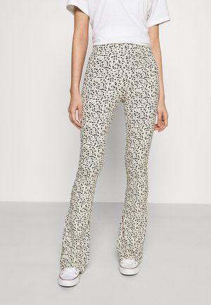 LEOPARD BASIC FLARE PANTS - Trousers - sand