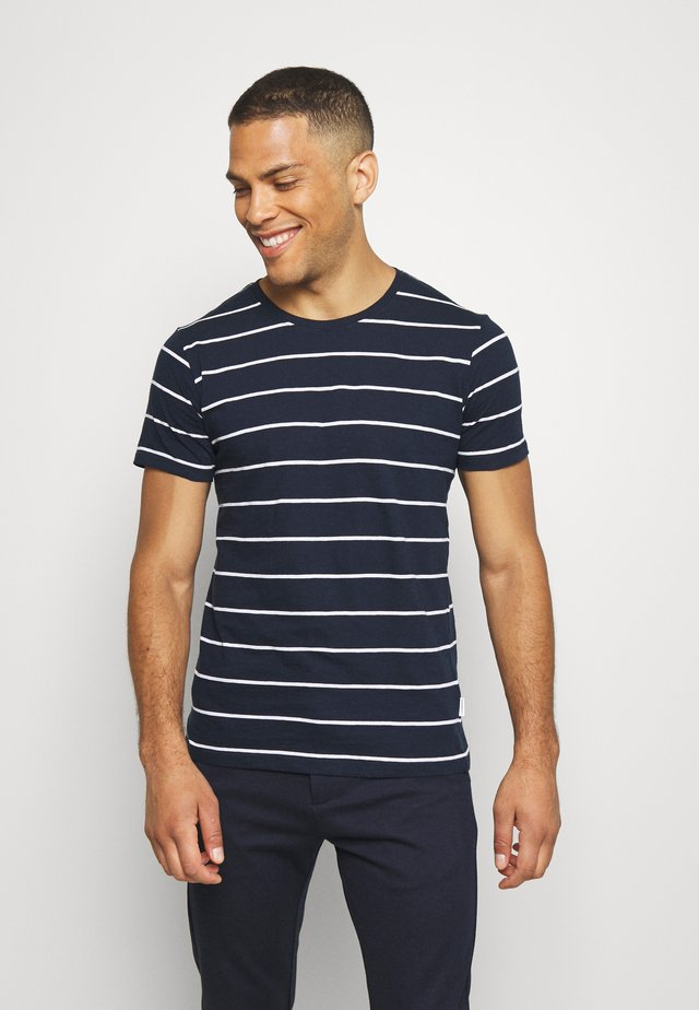 STRIPED SLUB TEE - Print T-shirt - dark blue