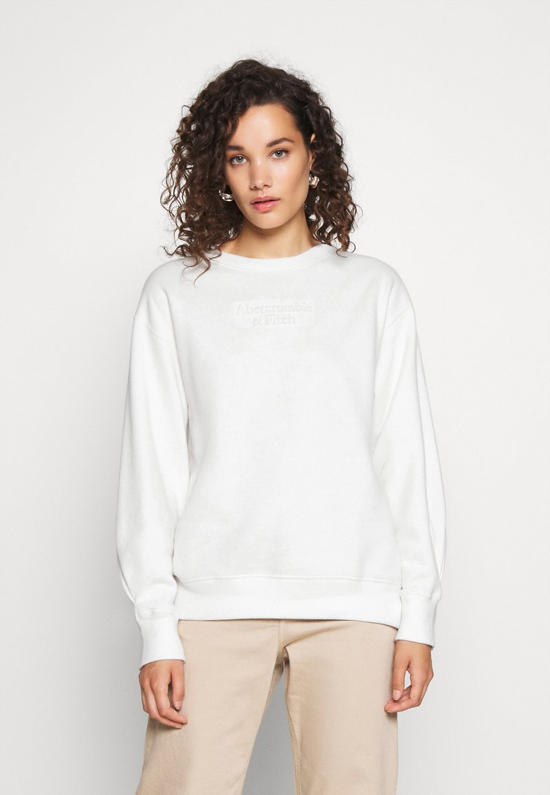 Abercrombie & Fitch - EMBOSSED LOGO PUFF SLEEVE CREW - Sweatshirt - white
