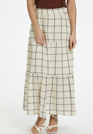 DIAPW SK - Maxi skirt - check, off-white navy