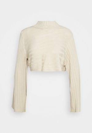 ASYMMETRIC ROLL NECK JUMPER - Jumper - stone