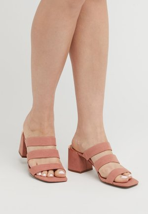 BLACK STRAPPY  - Heeled mules - nude