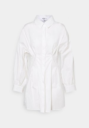 PLEATED WAIST SHIRT DRESS - Skjortekjole - white