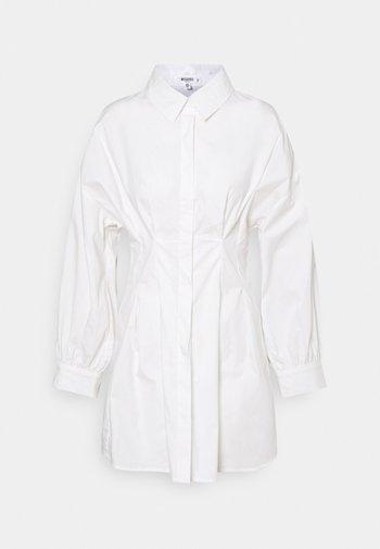 PLEATED WAIST SHIRT DRESS - Shirt dress - white