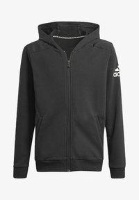 adidas Performance - LOGO FULL-ZIP HOODIE - Zip-up hoodie - black - 0