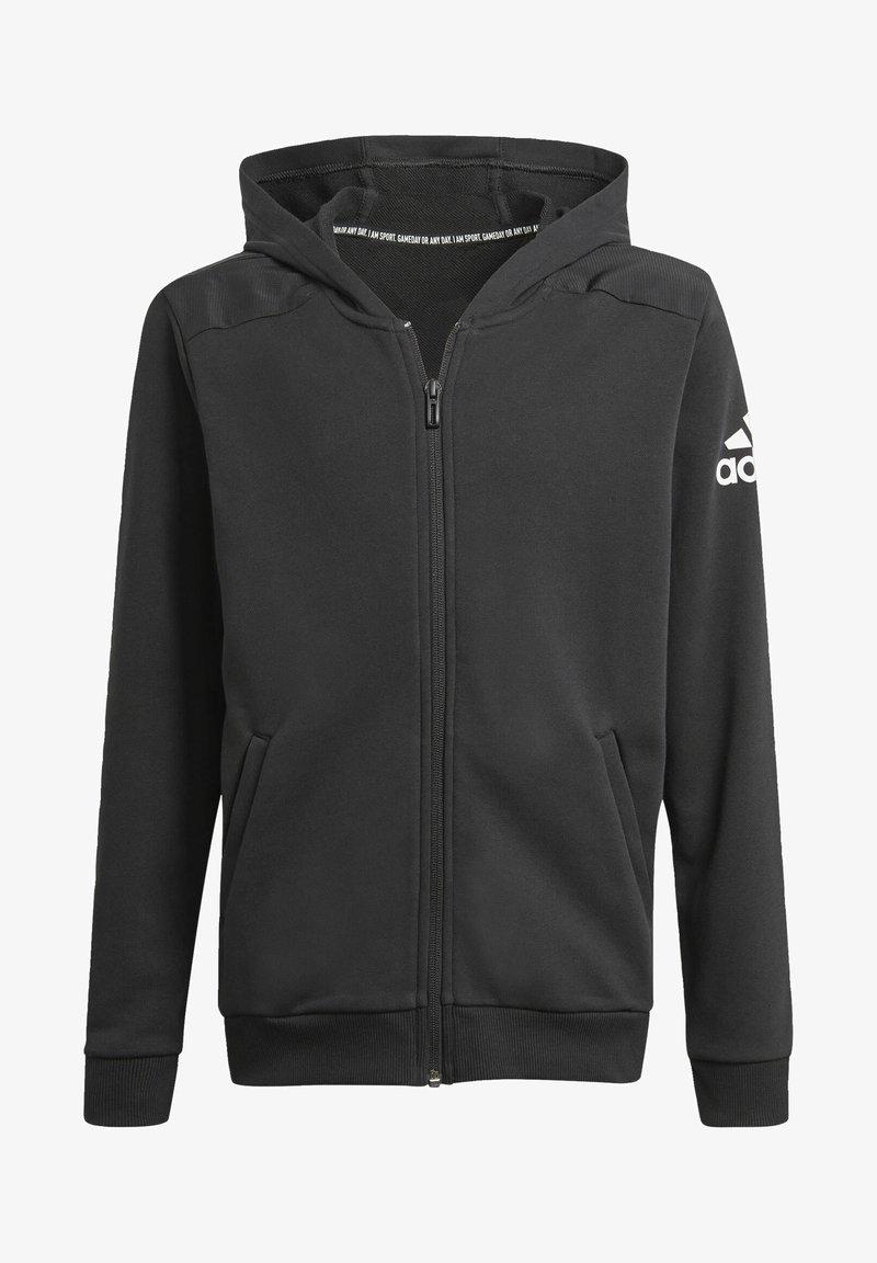 adidas Performance - LOGO FULL-ZIP HOODIE - Zip-up hoodie - black