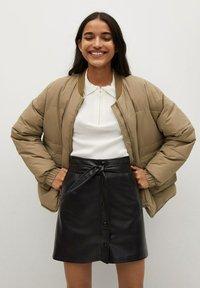 Mango - Leather skirt - černá - 0