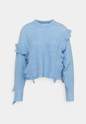 LOFTY CROPPED RUFFLE - Svetr - blue