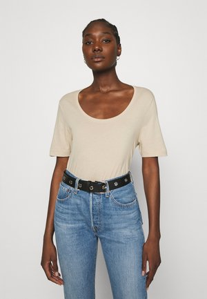 SLFSTANDARD U-NECK TEE COLOR - Basic T-shirt - white pepper