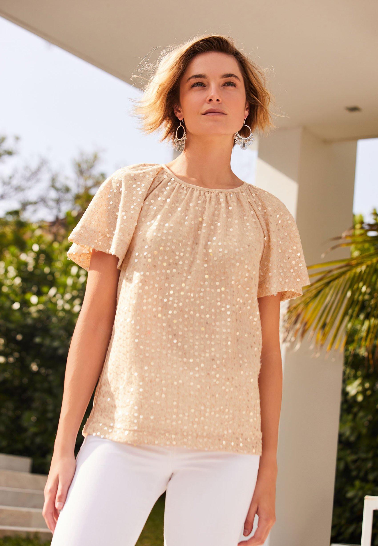 SEQUIN FLUTE   T Shirt print   light brown