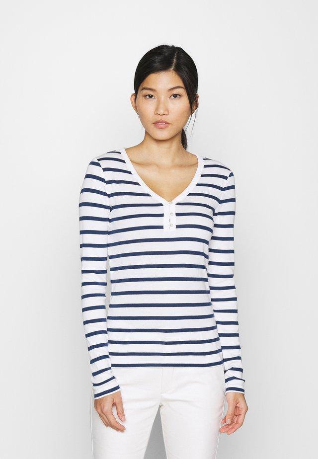 FAV HENLEY - Long sleeved top - white/navy