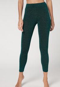 Calzedonia - KOMFORT-LEGGINGS MIT GLITZER - Leggings - Stockings - grün - 260c - glitter verde smeraldo - 0