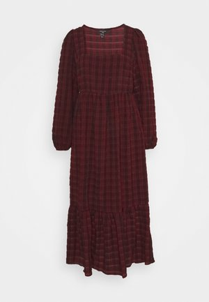 CHECK SEERSUCKER SMOCK MIDI - Day dress - red pattern