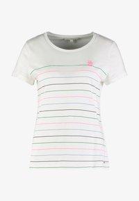 TOM TAILOR DENIM - PRINTED STRIPE SLUB TEE - T-shirt med print - off white/multicolor - 3
