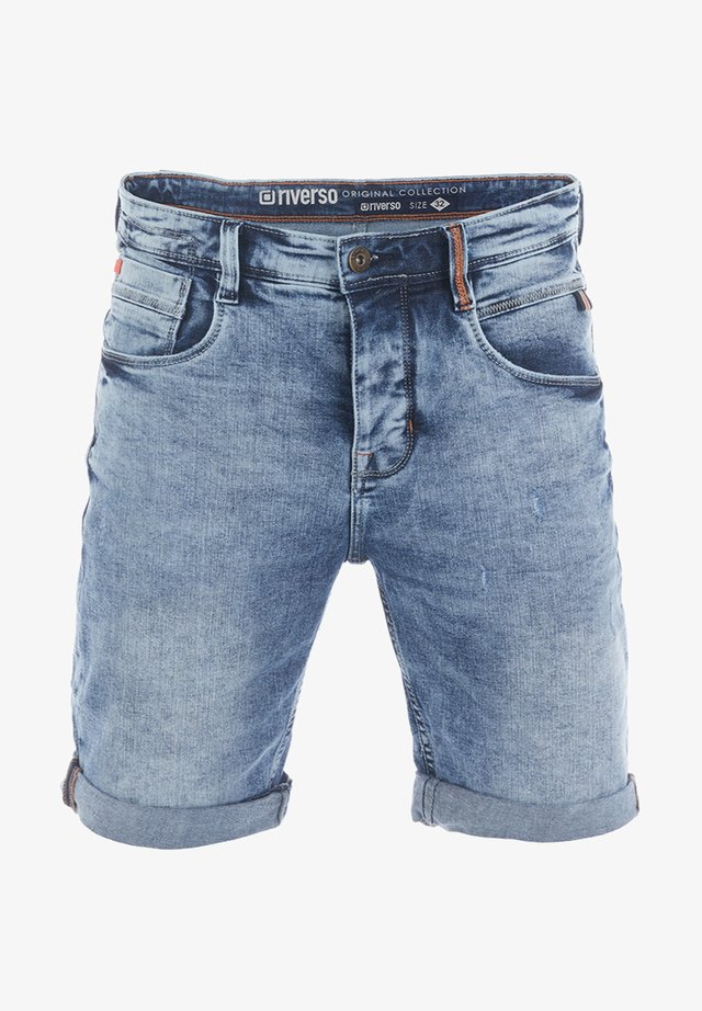 RIVTOM - Denim shorts - middle blue denim