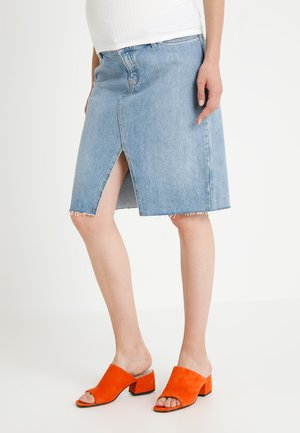 MIDI - Pencil skirt - light-blue denim