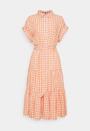 DRESS - Košilové šaty - orange/white