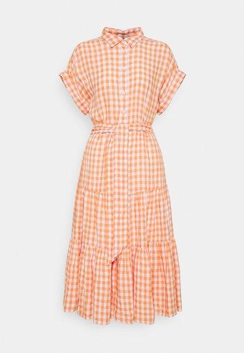 DRESS - Shirt dress - orange/white