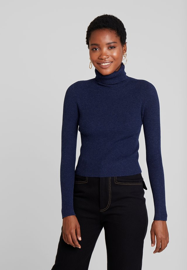TURTLE NECK SEAMLESS - Pullover - navy melange