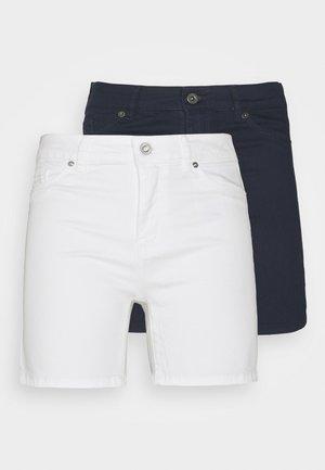 VMHOTSEVEN 2 PACK - Denim shorts - navy blazer/bright white