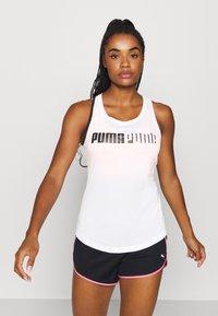 Puma - TRAIN LOGO CROSS BACK TANK - Sports shirt - white - 0