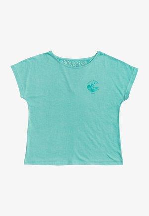 Print T-shirt - mottled turquoise