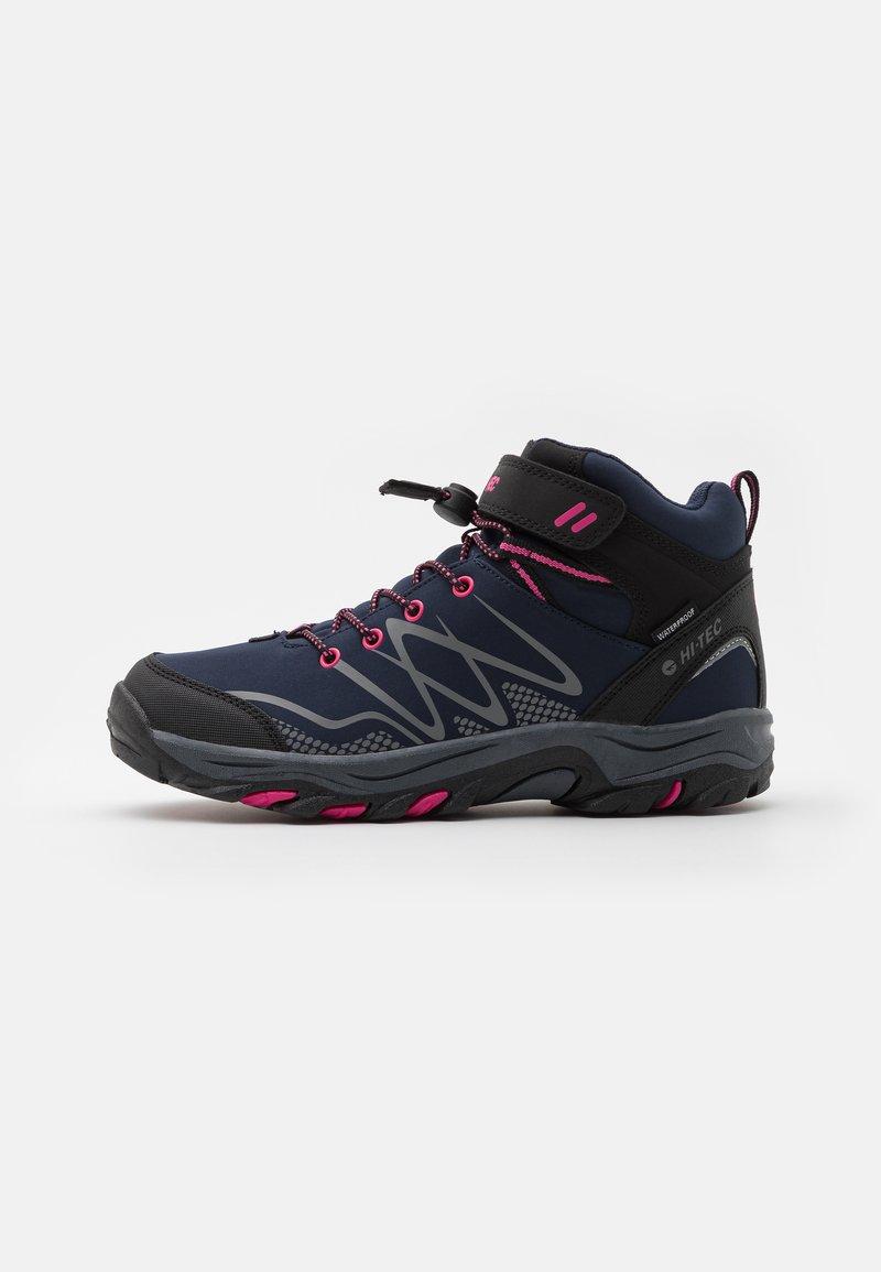 Hi-Tec - BLACKOUT MID WP UNISEX - Hiking shoes - navy/magenta