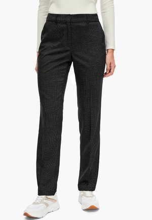 REGULAR FIT MIT WEBSTRUKTUR - Trousers - black