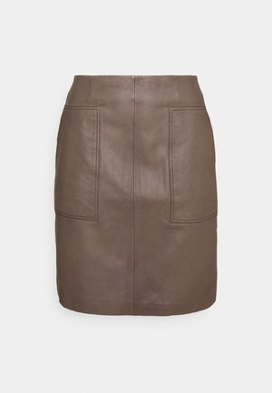 SLFMOON SKIRT  - Leather skirt - fossil
